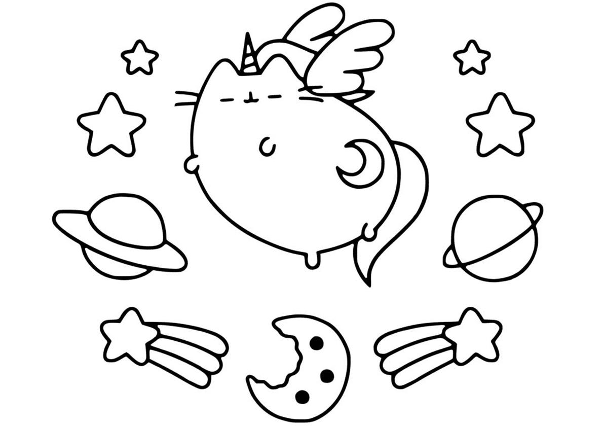 Раскраска Космический кот распечатать | Единороги