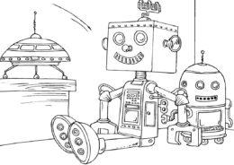 Роботы бесплатная разукрашка - Космический робот