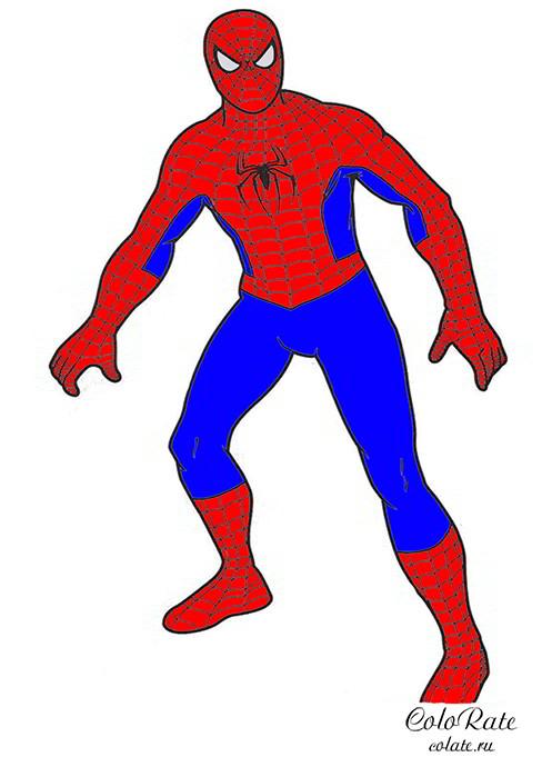Костюм Человека-паука - пример раскрашивания