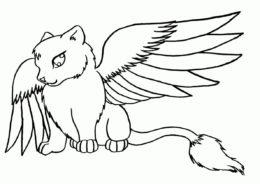 Кот дракон распечатать раскраску - Коты, кошки, котята