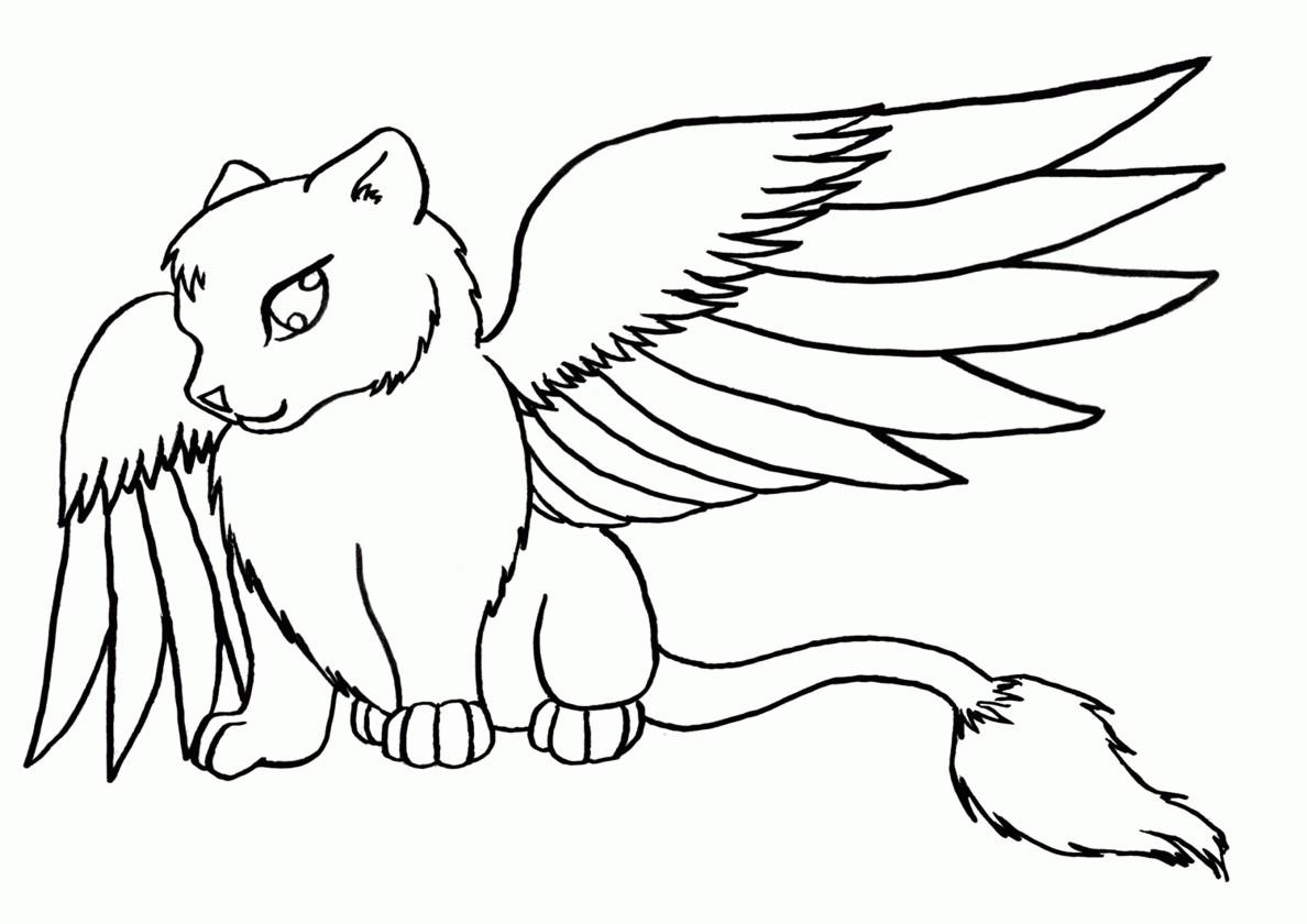 Раскраска Кот дракон распечатать | Коты, кошки, котята