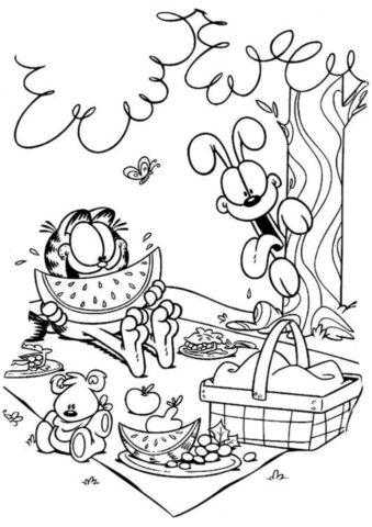 Бесплатная раскраска Кот и собака на пикнике - Лето