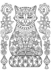 Раскраска Кот мандала распечатать на А4 - Коты, кошки, котята