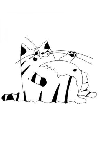 Кот пузан - Коты, кошки, котята распечатать раскраску на А4