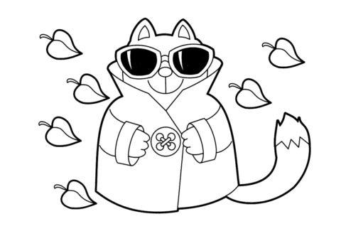 Кот в очках и пальто (Осень) распечатать бесплатную раскраску