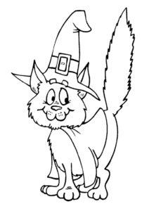 Бесплатная раскраска Кот в шляпе распечатать и скачать - Коты, кошки, котята