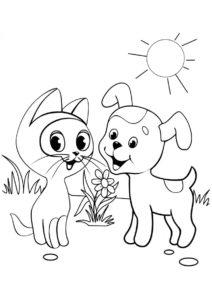 Распечатать раскраску Котенок Гав с Дружком - Коты, кошки, котята