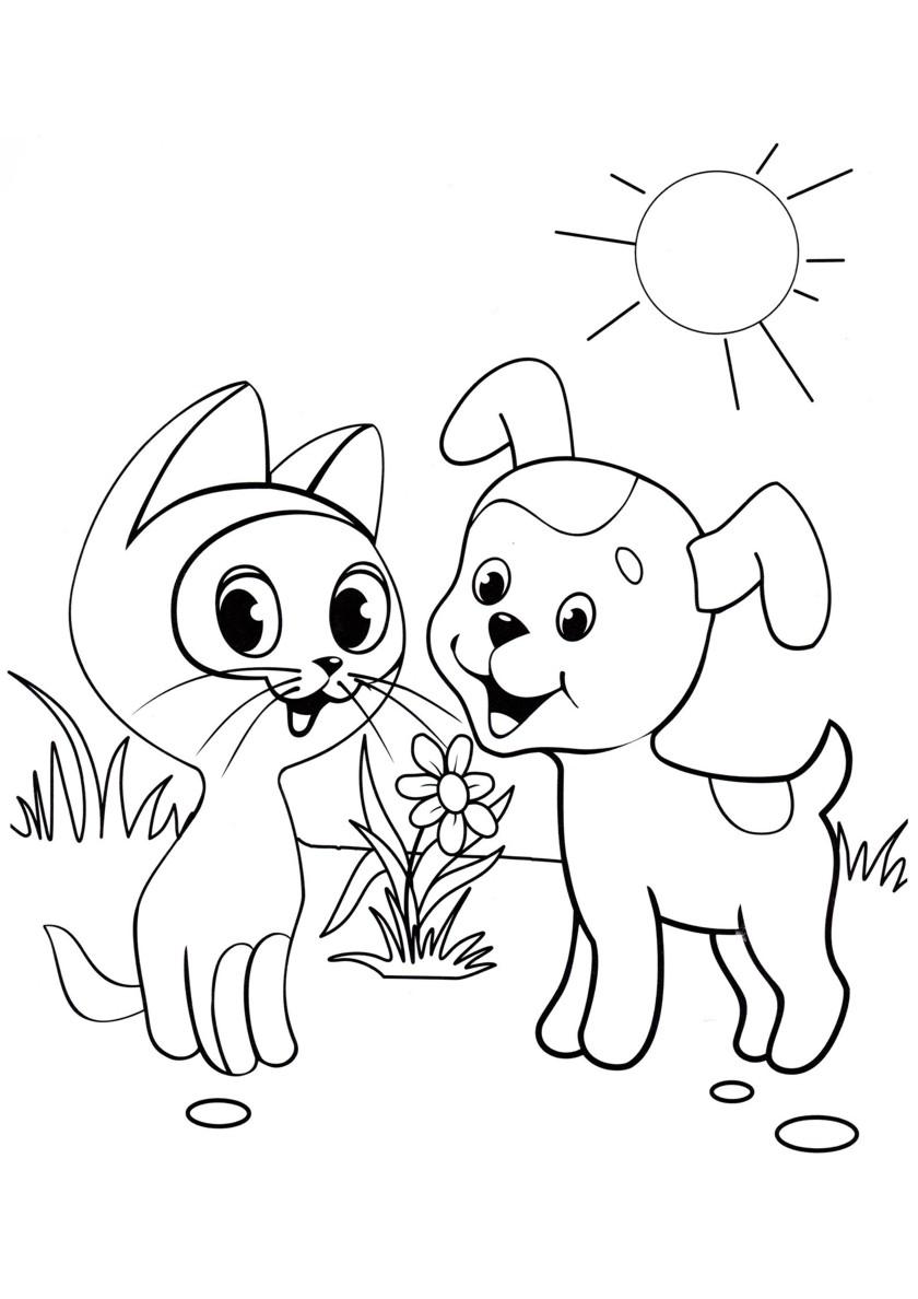 Раскраска Котенок Гав с Дружком распечатать | Коты, кошки ...