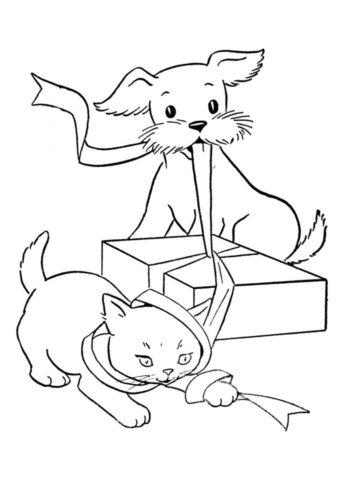 Раскраска Котенок и щенок открывают подарок распечатать ...