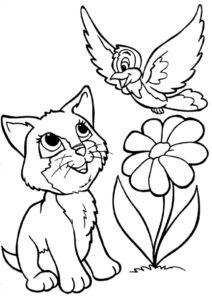 Раскраска Котенок и воробей распечатать и скачать - Коты, кошки, котята
