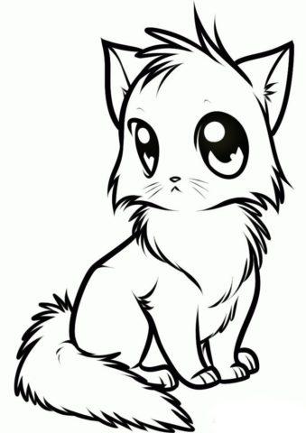 Бесплатная раскраска Котенок манга распечатать на А4 и скачать - Коты, кошки, котята
