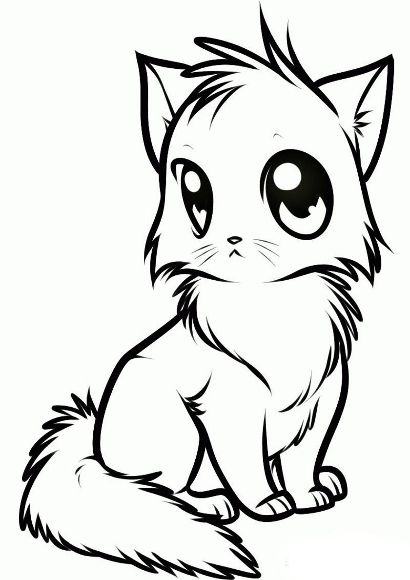 Раскраска Котенок манга распечатать | Коты, кошки, котята