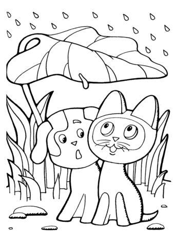 Котенок по имени Гав (Осень) раскраска для печати и загрузки