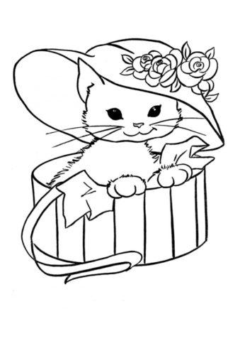 Коты, кошки, котята распечатать раскраску на А4 - Котенок под шляпкой