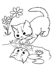 Котик смотрит в отражение (Коты, кошки, котята) раскраска для печати и загрузки