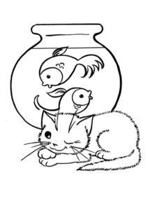 Котик у аквариума раскраска распечатать бесплатно на А4 - Коты, кошки, котята