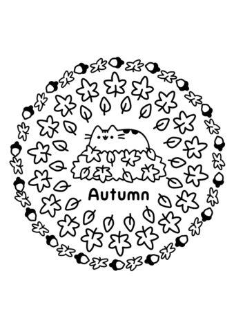 Раскраска Кото-осень распечатать на А4 и скачать - Осень