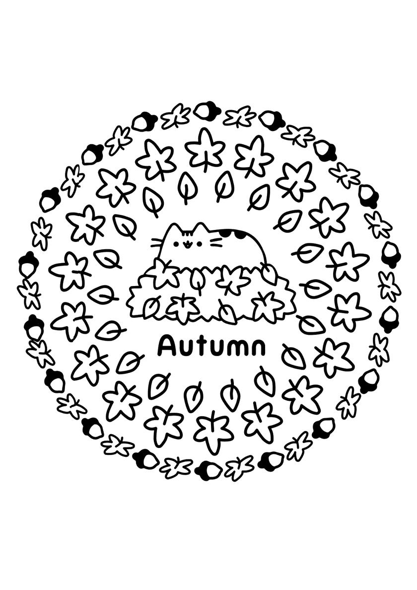 Раскраска Кото-осень распечатать | Осень