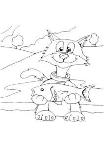 Котофей рыбак раскраска распечатать бесплатно на А4 - Коты, кошки, котята