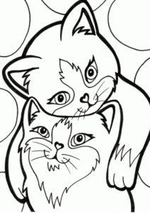 Котя и киса (Коты, кошки, котята) распечатать бесплатную раскраску