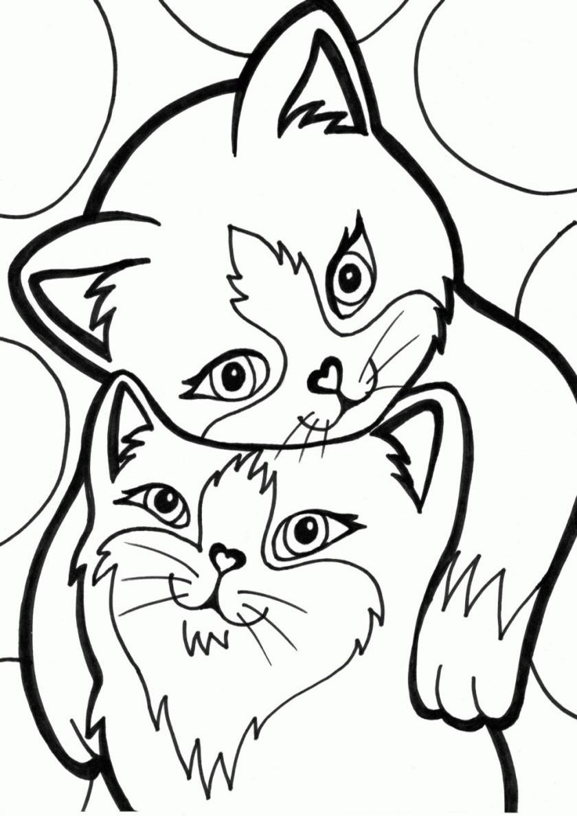 Раскраска Котя и киса распечатать | Коты, кошки, котята
