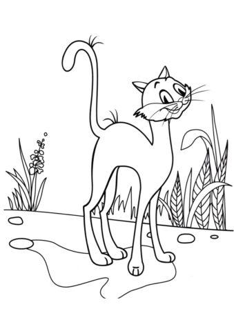 Коты, кошки, котята бесплатная разукрашка - Котяра гуляет