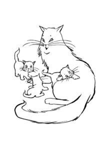 Бесплатная раскраска Котята играют с кошкой - Коты, кошки, котята