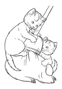 Котята на метле (Коты, кошки, котята) раскраска для печати и загрузки