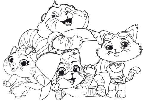 Котята с Хомкой (Коты, кошки, котята) бесплатная раскраска на печать