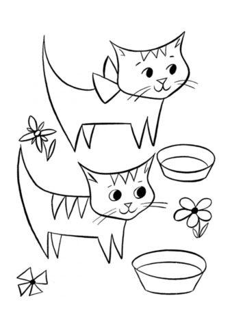 Раскраска Котята у мисок распечатать на А4 - Коты, кошки, котята