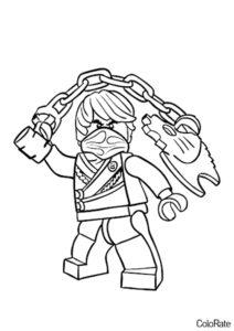 LEGO Ниндзяго распечатать раскраску - Коул с цепным оружием
