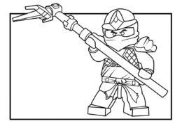 Бесплатная разукрашка для печати и скачивания Коул в атаке - LEGO Ниндзяго