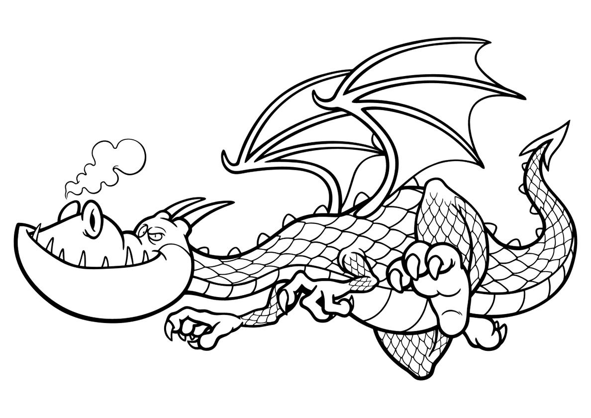 Раскраска Коварный мультяшный дракон распечатать | Драконы