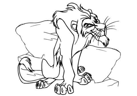 Коварный Шрам (Король Лев) бесплатная раскраска на печать