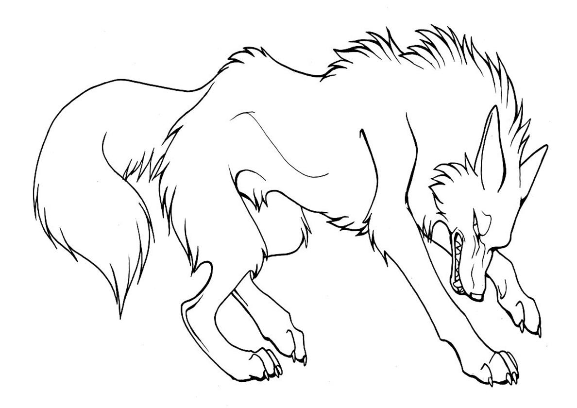 Раскраска Коварный волк распечатать | Волки