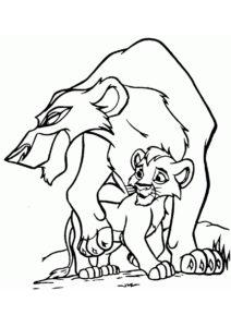 Разукрашка Кову и Зира распечатать на А4 и скачать - Король Лев