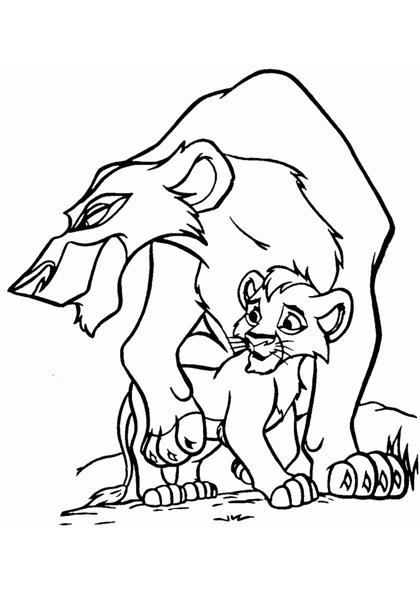 Раскраска Кову и Зира распечатать | Король Лев