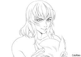 Красавчик Иноске (Раскраски из аниме «Клинок, рассекающий демонов») распечатать разукрашку