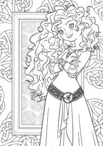 Раскраска Красавица с распущенными волосами распечатать на А4 и скачать - Мерида