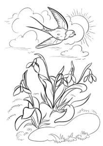 Разукрашка Красивая ласточка распечатать и скачать - Весна