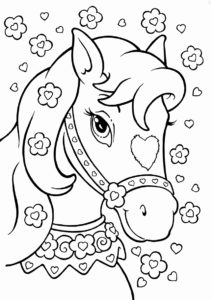 Раскраска Красивая лошадка распечатать на А4 и скачать - Лошади и пони