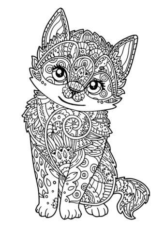 Бесплатная разукрашка для печати и скачивания Красивый котенок - Коты, кошки, котята