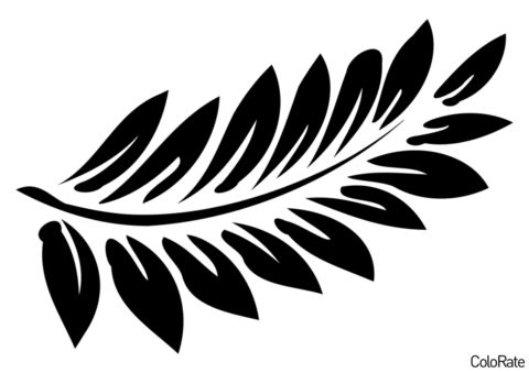 Трафарет Красивый лист папоротника распечатать на А4 и скачать - Трафареты листьев