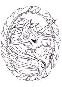 Красивый портрет бесплатная раскраска - Единороги