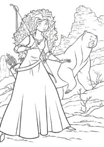 Бесплатная раскраска Красотка и медведь на охоте - Мерида