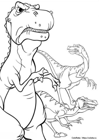 Раскраска Кровожадные хищники - Динозавры