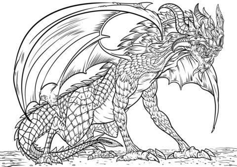 Кровожадный дракон распечатать разукрашку бесплатно - Драконы