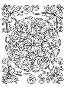Раскраска Круглый цветок распечатать и скачать - Весна