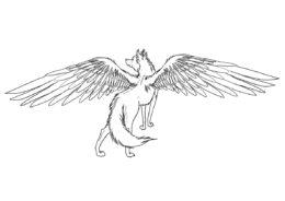 Волки бесплатная раскраска распечатать на А4 - Крылатая волчица