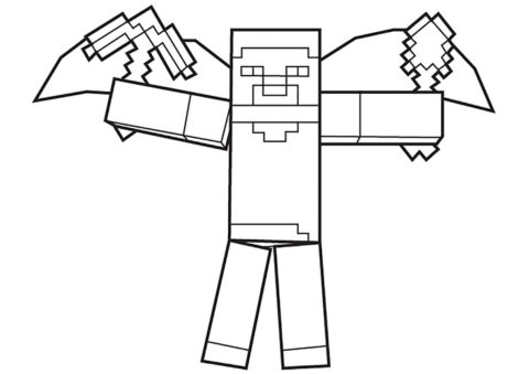Майнкрафт бесплатная разукрашка - Крылатый хиробрин